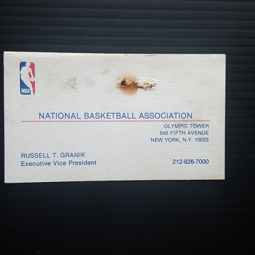 Vintage and 100% Authentic circa 1985 Russell T Granik Business card -(NBA League Office The guy who banned Air Jordans from the NBA!)--- with facsimile letter
