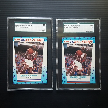 1989 Fleer Sticker Michael Jordan #3 Graded EX SGC 5 (2 card lot)