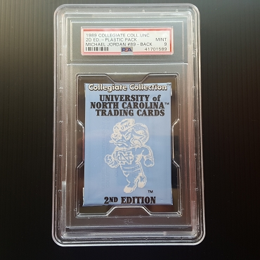 UNOPENED 1989 U.N.C. 2nd edition Wax Pack w/ Michael Jordan #89 on back PSA 9